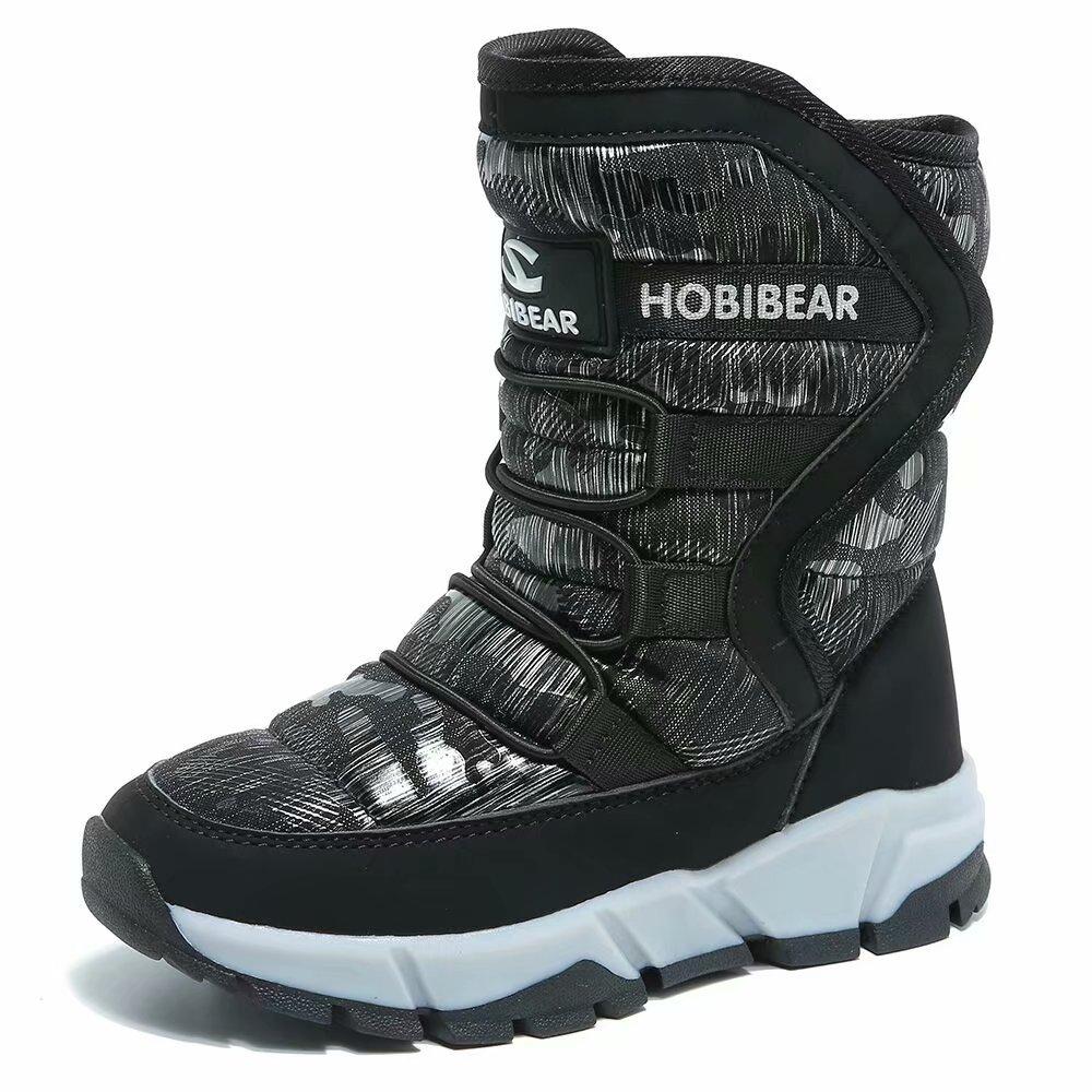 GUBARUN Boys Snow Boots Kids Outdoor Warm Shoes Waterproof (Black1, 11.5)
