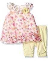 Nannette Baby Girls' Floral Chiffon Bubble Legging Set