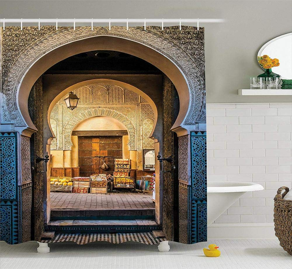180 cm HYJX SHOP Tenda da Doccia marocchina Tipica Porta marocchina Vecchia Medina Mediterraneo Arco Storico Ingresso Foto Bagno Set Pollici Blu con 12 Ganci 200
