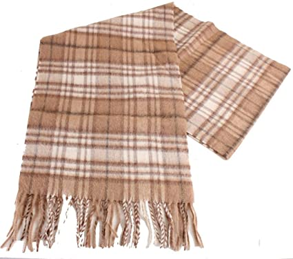 13342ce98 Bassin and Brown Mens Read Checked Camel Hair Scarf - Beige/Cream at ...