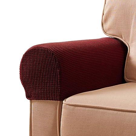 YuamMei Funda antideslizante para el estiramiento del apoyabrazos de spandex, sofá reposabrazos protector para sillón reclinable Sofá, juego de 2 ...