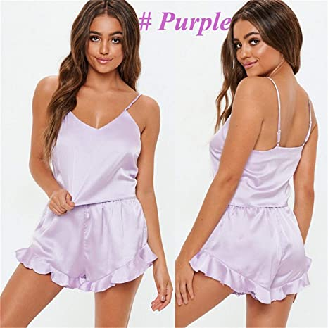 76a4259baf Amazon.com: Womens Sexy Satin Silk Pajama Sets Sleepwear Solid Color  Sleeveless Strap V-Neck Crop Tops Ruffles Shorts 2Pcs Lady Outfits:  Appliances