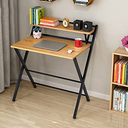 "Folding Computer Tables 33"" Foldable Desk with Storage for Kids Multipurpose Rectangular Table MDF and"