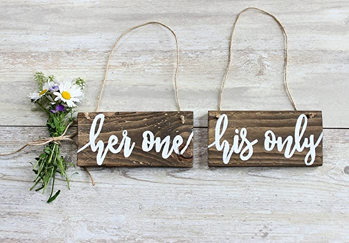 Amazon Rustic Wedding Signs Her One His Only Wedding Chair