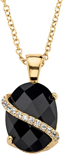 14K Yellow Gold Necklace With Round Shaped Black Onyx Gemstones 16 Inches