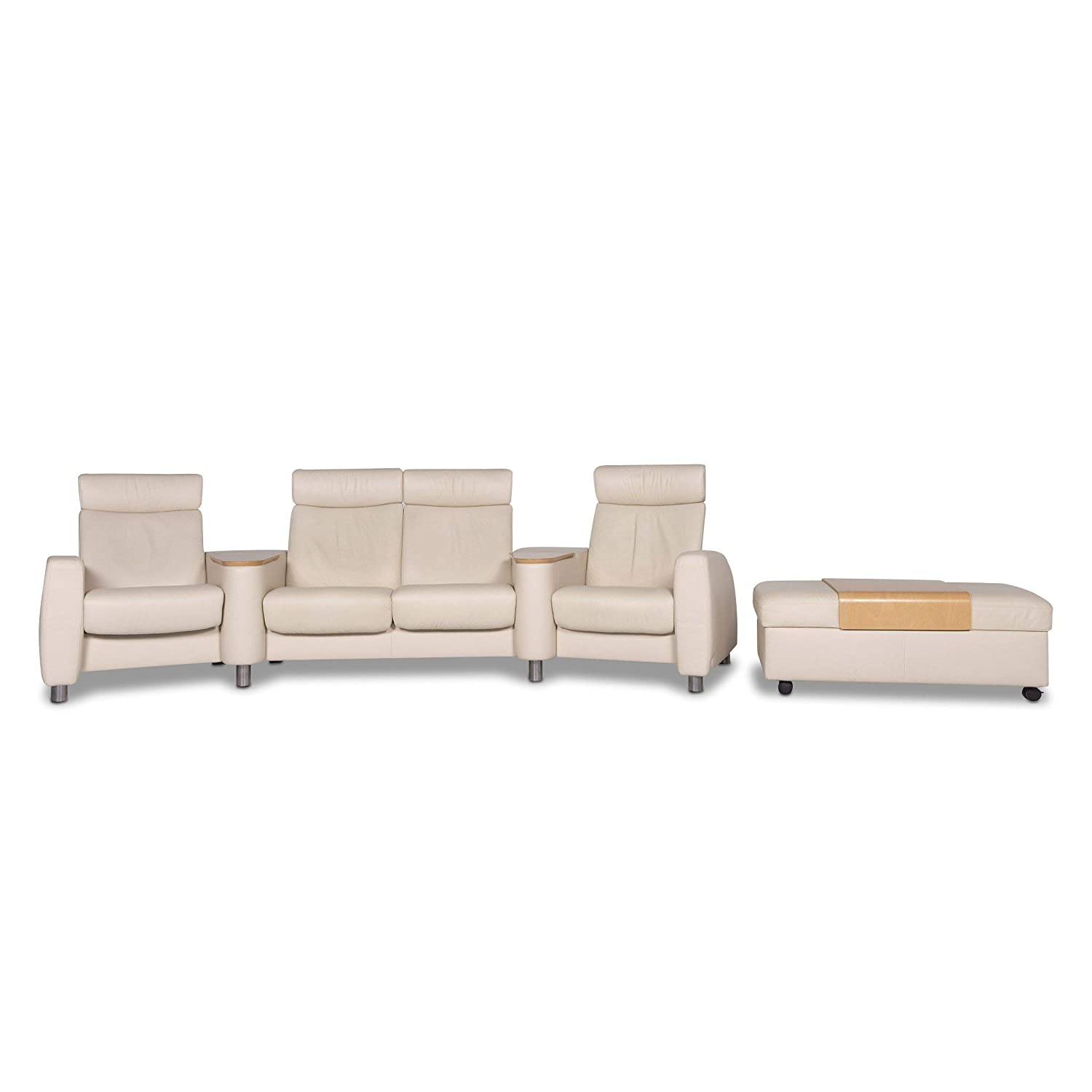 Stressless Arion Designer Leather Sofa Set Beige 1x Four ...