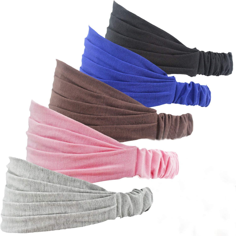 5 Piezas Cintas Pelo Mujer Anchas Diademas Turbantes Mujer Elásticas Pañuelos Pelo Cabeza Mujer Turbante Pelo Mujer para Maquillaje Yoga Deporte Lavar Tu Cara