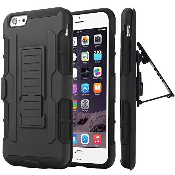 the best attitude eb2f2 7dd04 iPhone 6S case, Nagebee - Heavy Duty Hybrid Armor Dual Layer Rhino  Kickstand Holster Locking Belt Swivel Clip Combo Rugged Case for iPhone 6S  (Black)