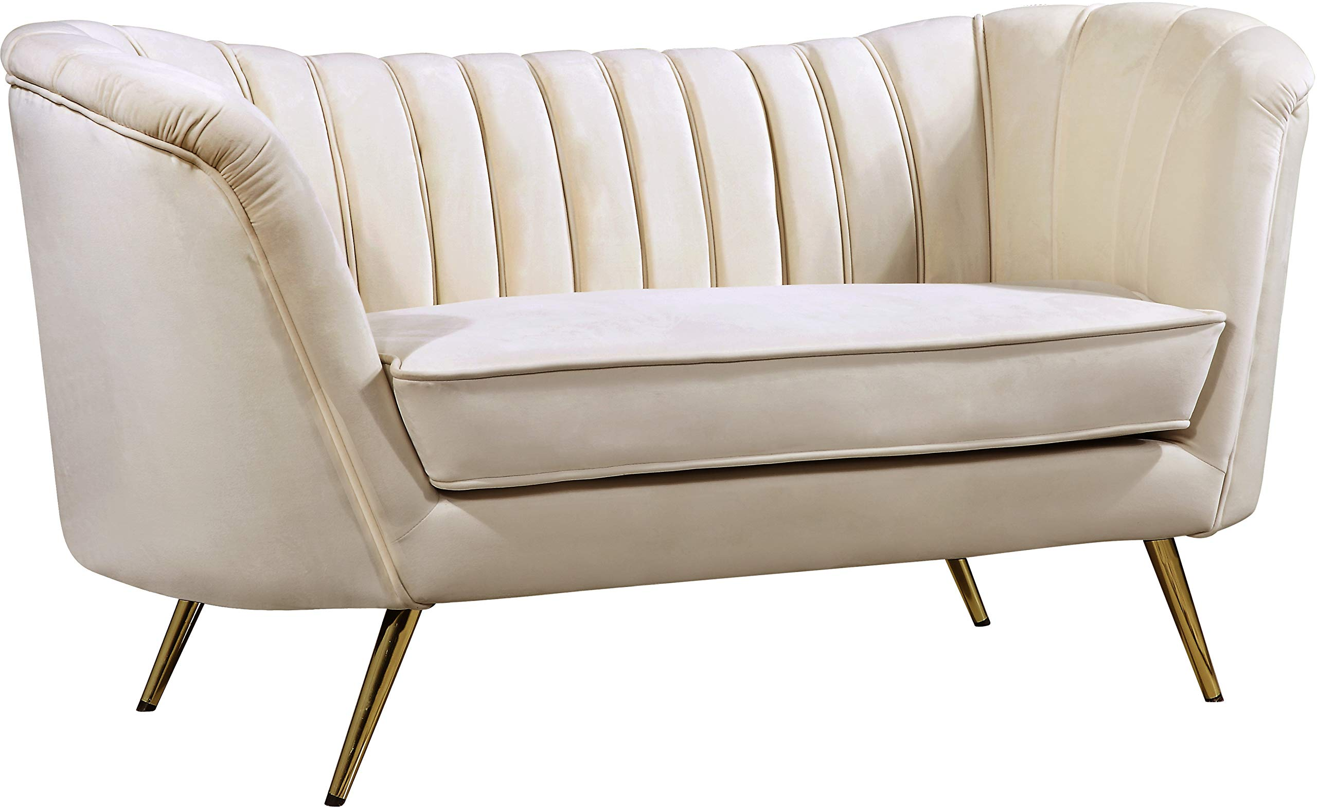 Meridian Furniture Margo Collection Modern | Contemporary Cream Velvet Upholstered Loveseat with Rich Gold Stainless Steel Base, 65'' W x 30'' D x 33'' H by Meridian Furniture