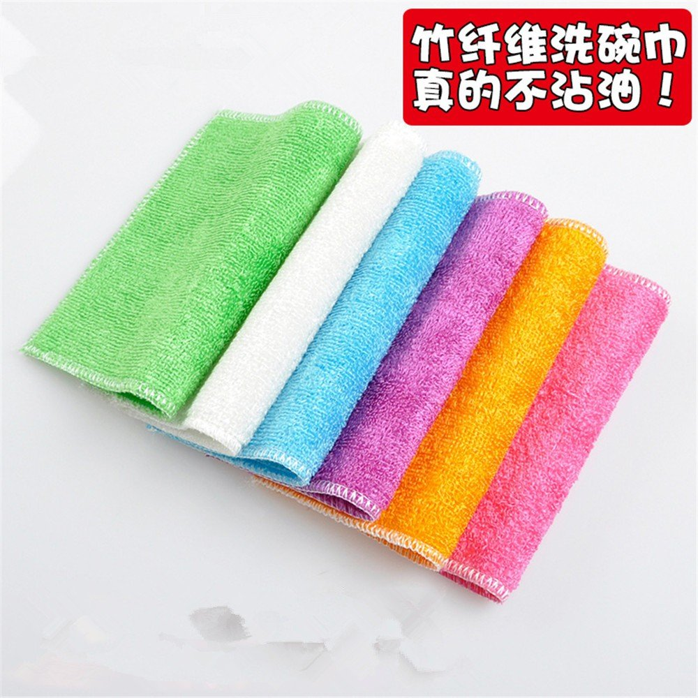 Cleaning Cloth Rags Towels Bamboo Fiber Soft Absorbent Kitchen Cleaning 竹纤维洗碗巾
