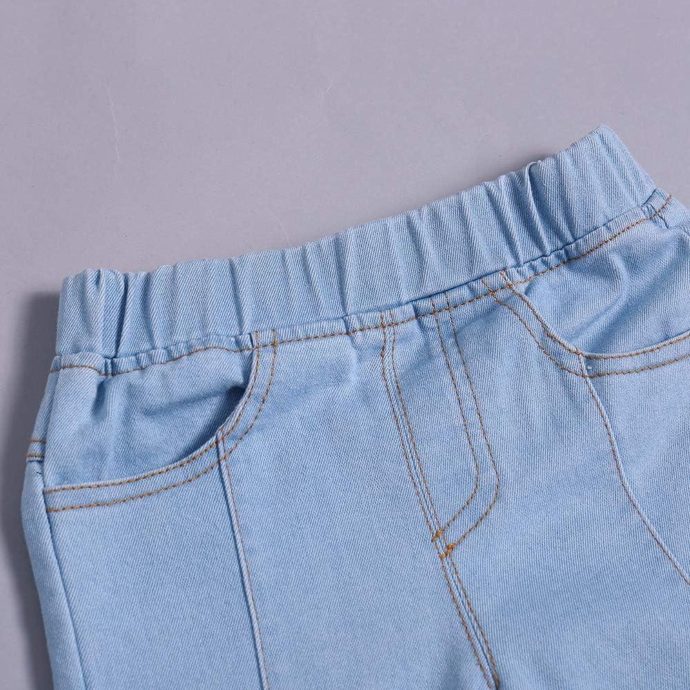 AIKSSOO Toddlers Baby Girls Skinning Jeans Elastic Waist Slim Denim Pants
