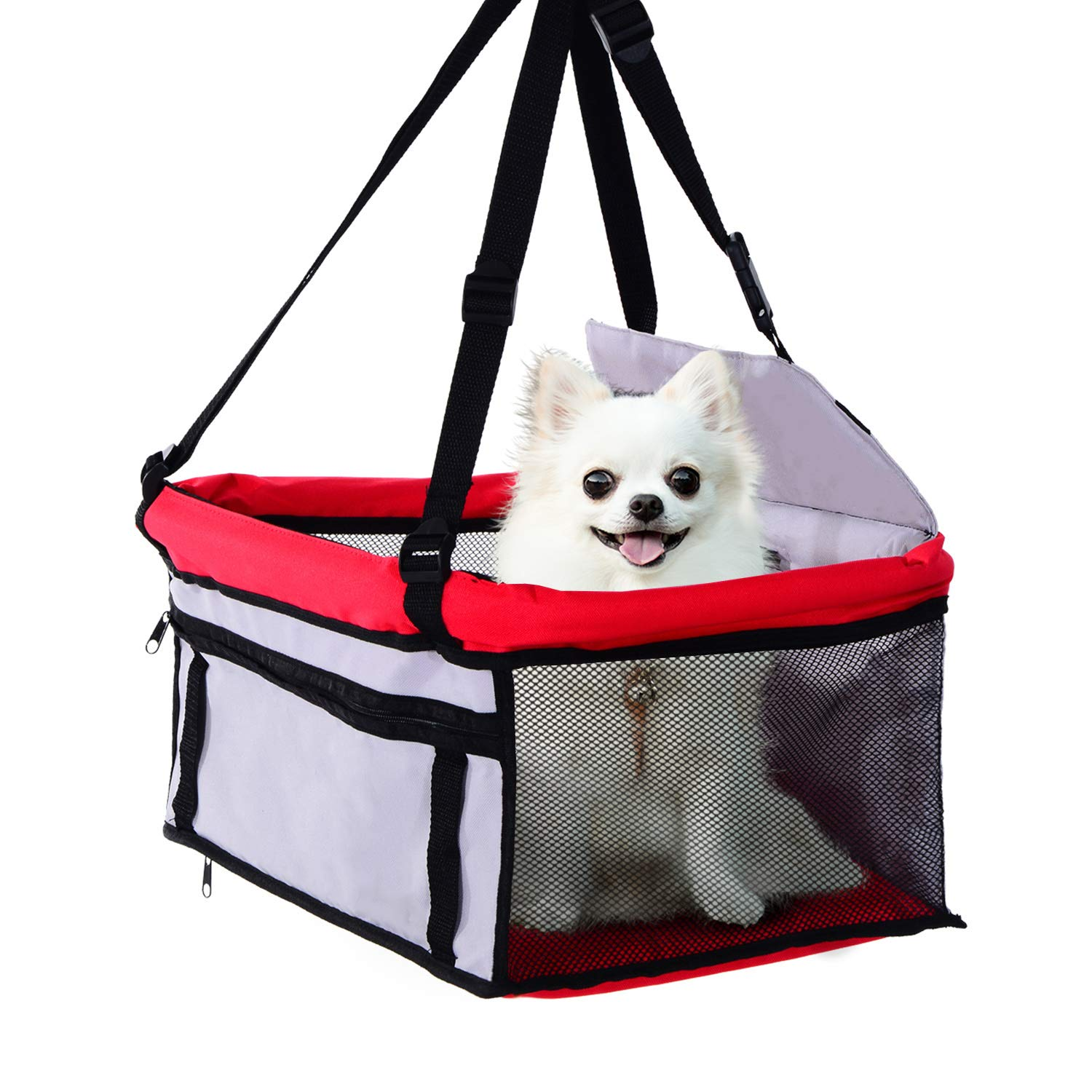 PawHut Dog Cat Puppy Pet Car Booster Seat Travel Carrier Bag Cage Tote Kennel Playpen Easy Folding