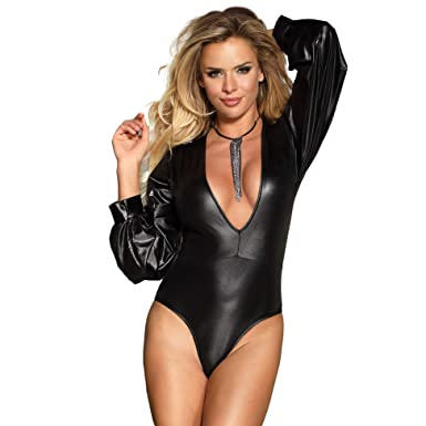 b18caee97174 ohyeahgirl Black Faux Leather Bodysuit for Women Plus Size Leather Lingerie Long  Sleeve at Amazon Women's Clothing store: