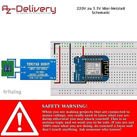 AZDelivery ⭐⭐⭐⭐⭐ 3 x 220V a 3.3V Fuente de alimentaci/ón Mini para Arduino y Raspberry Pi