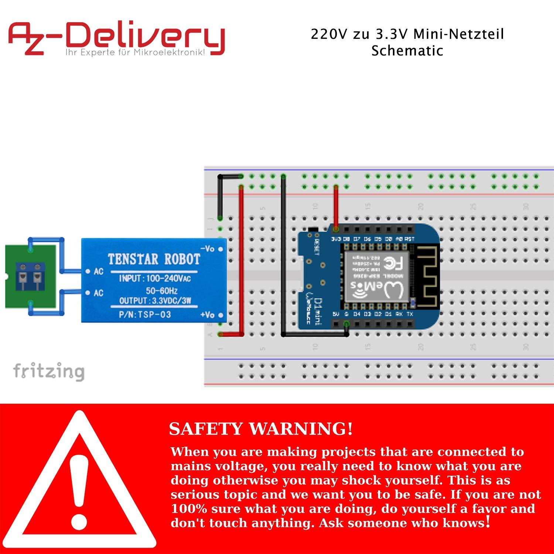 AZDelivery 220V zu 12V Mini-Netzteil für Arduino und Raspberry Pi