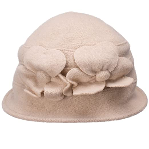 Lawliet Solid Color Retro Womens 100% Wool Flower Dress Cloche Bucket Cap  Hat A218 ( 6c45fb13b1ce