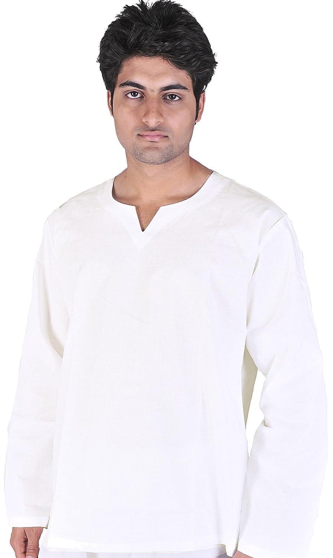 Exotic India Plain White V-Neck Short Kurta Top SPB62