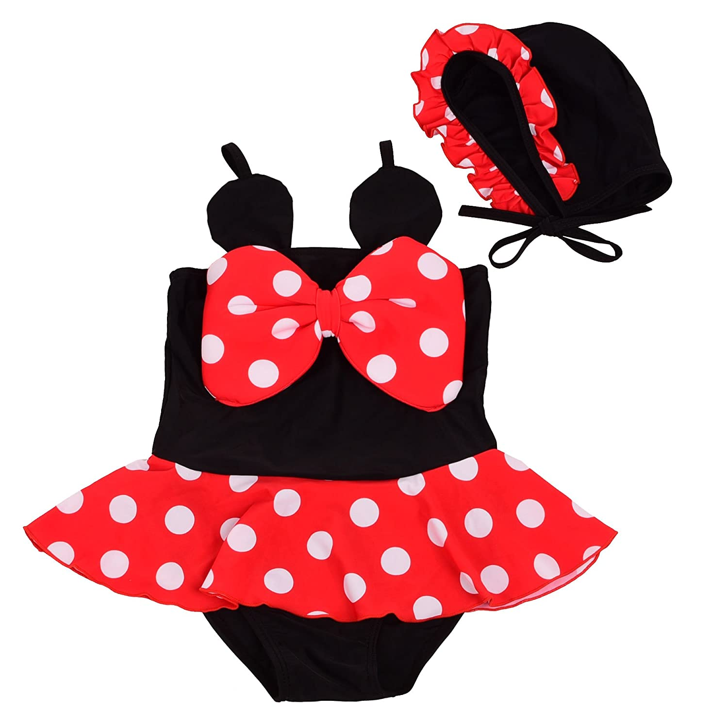 Dressy Daisy Girls' Polka Dots Bathing Suits Swimsuits with Hat