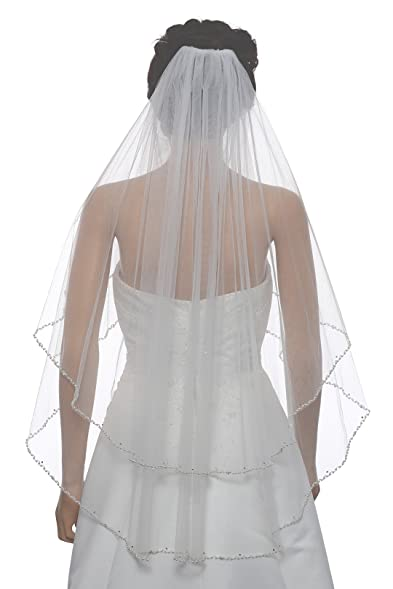 "2T 2 Tier Wavy Pearl Crystal Beaded Bridal Wedding Veil - Ivory Fingertip Length 36"""