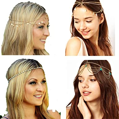 Silver Simsly Boho Gemstone Head Chain Hair Jewelry Heabands Headpiece for Women and Girls
