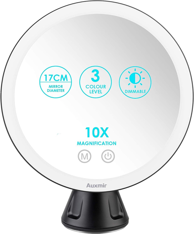 Auxmir Espejo Maquillaje con Luz LED 10X Aumento Espejo Cosmético Iluminoso con Ventosa, 360 Rotación, 3 Luces Ajustables Brillo Regulable Recargable Portátil, para Afeitado Maquillaje, Negro: Amazon.es: Hogar