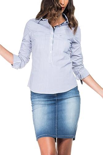 SALSA Camisa básica de color azul claro