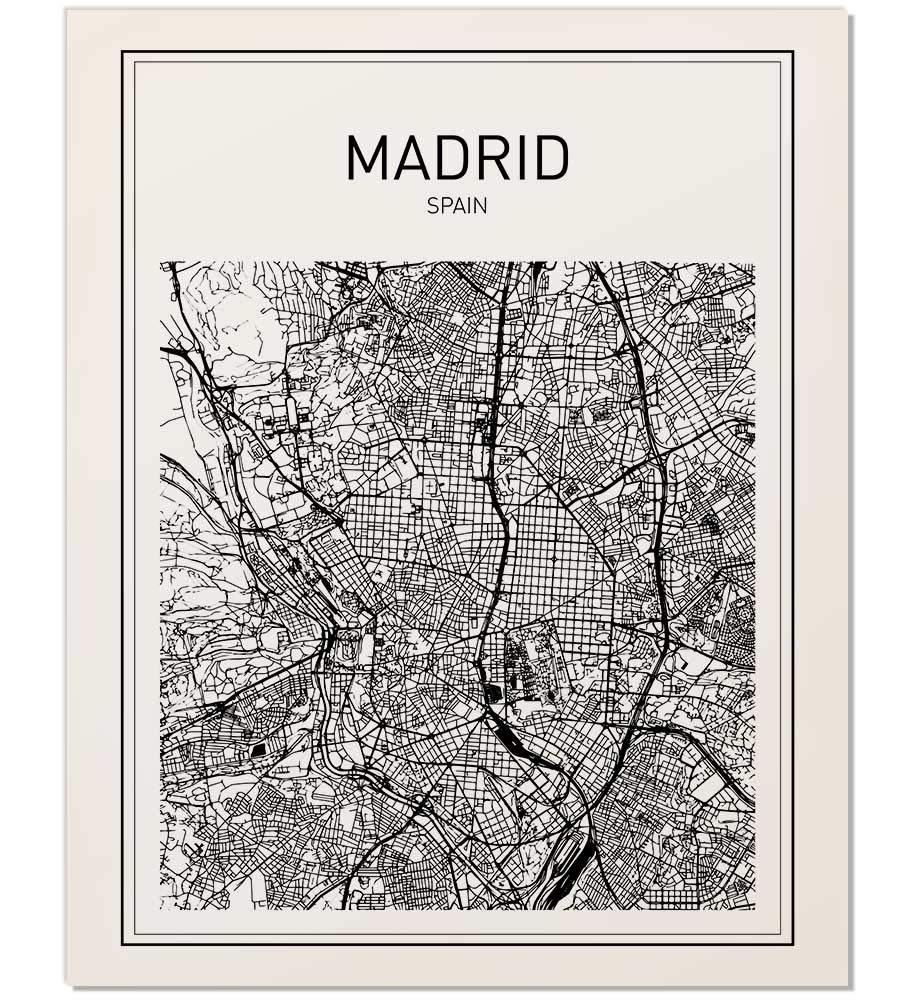 Map Of Spain With Madrid.Amazon Com Madrid Map Madrid Poster Map Of Madrid Spain Poster