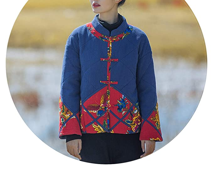 1b8ca7467 Winter Style Retro Plate Button Short Coat Chinese Style Tang Suit Cotton  Jacket,Blue,