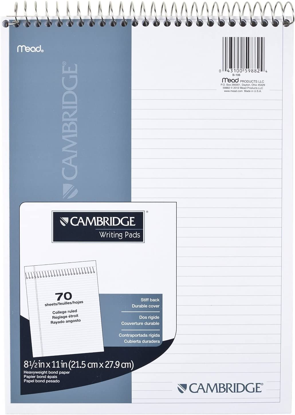 "Meadwestvaco 59882 8-1/2"" X 11"" White Cambridge Stiff Back Wirebound Notebook,2 Pack"