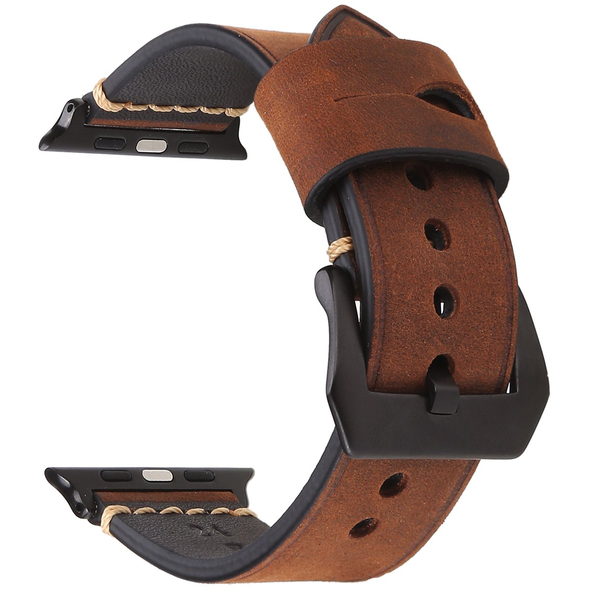 EACHE Genuine leather watch Band 42mm Dark Brown Crazy Horse Calfskin Leather Strap For Iwatch For Apple Watch Series 1,2,3 Black Adapter