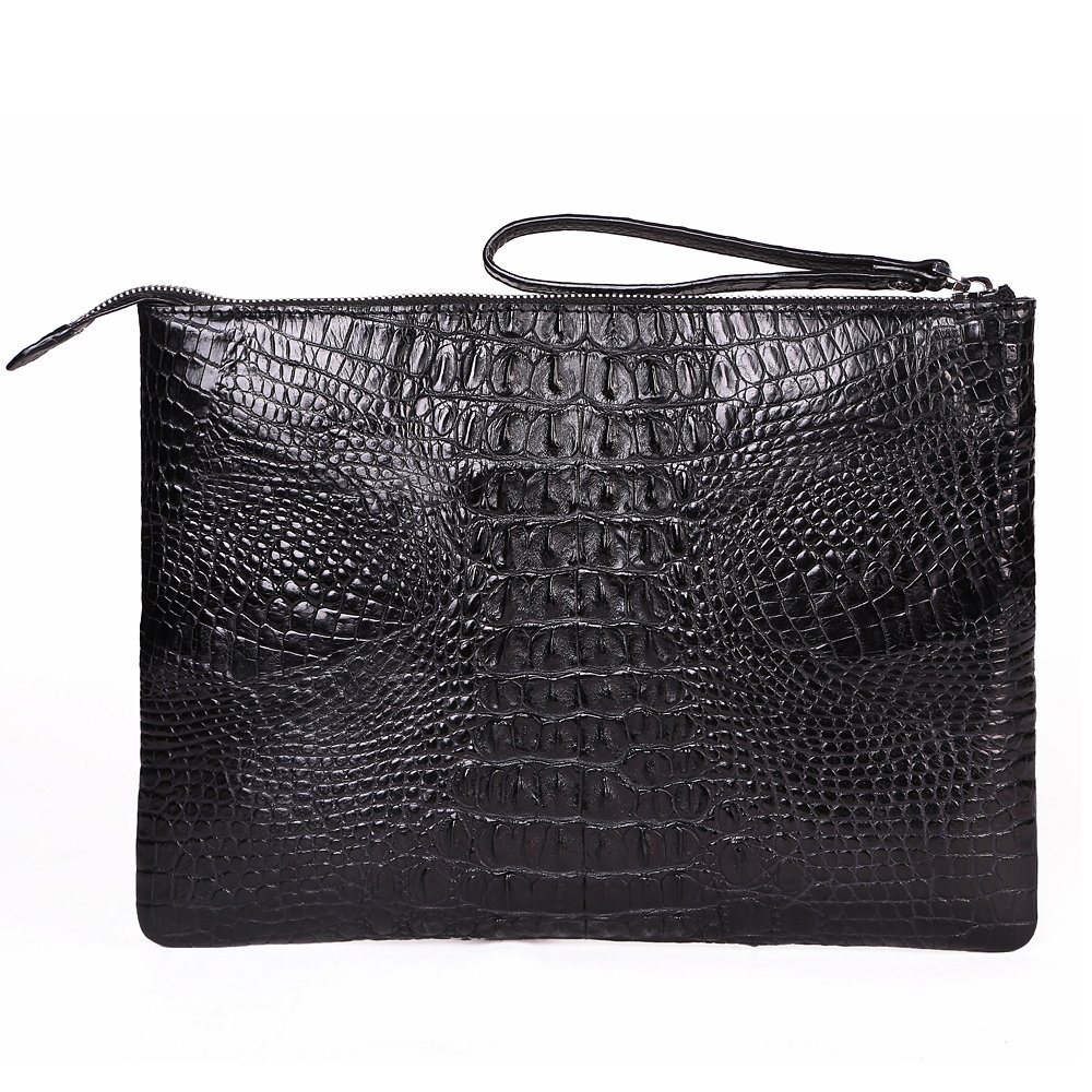 Crocodile Leather Business Clutch Bag Men Large Capacity Bag With Wriststrap at Amazon Mens Clothing store: