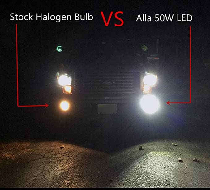 3399c5bb Amazon.com: Alla Lighting 50W High Power CREE Super Bright 6000K Xenon  White H11 H8 H16 Type 2 LED Bulbs for Fog Light Lamp Replacement: Automotive