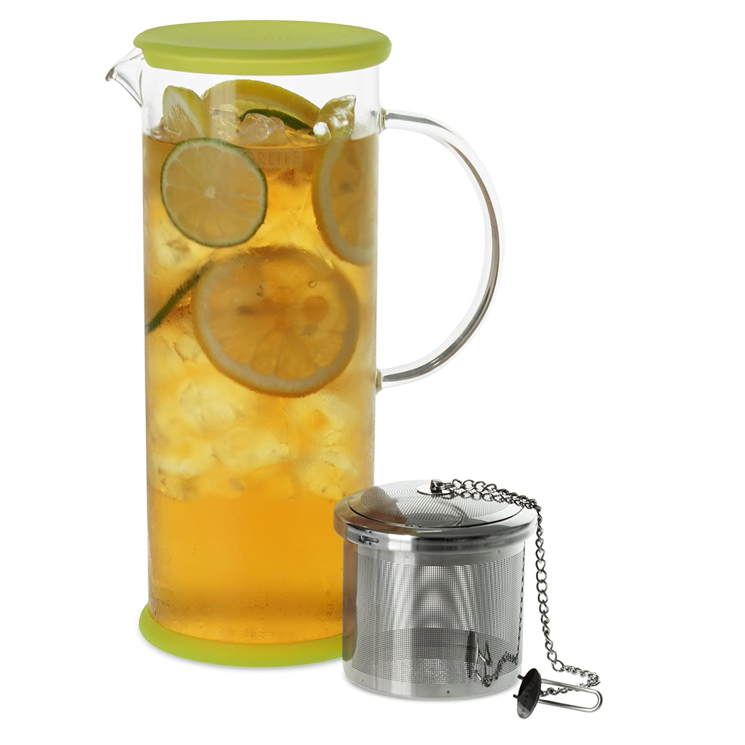 FORLIFE Lucent Glass Iced Tea Jug with Capsule Infuser, 48-Ounce, Frost 824-FST