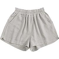 Verdusa Women's Elastic Waist Striped Pocketed Wide Leg Casual Shorts