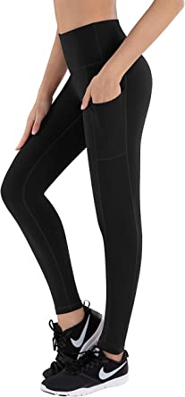 Womens High Waist Yoga Pants Tummy Control Workout Running Sports Solid Color Leggings with Pockets