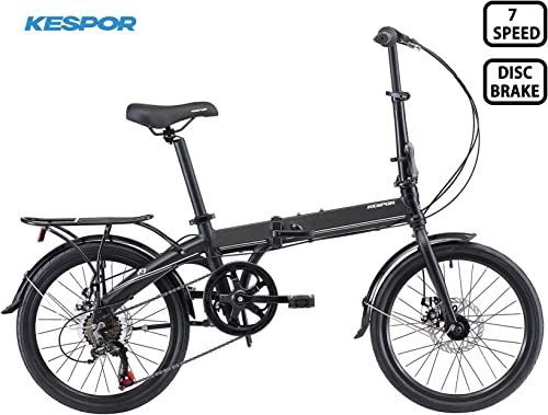 KESPOR K7 Folding Bike for Adults, Women, Men, Rear Carry Rack, Front and Rear Fenders, Shimano 7 Speed Aluminum Easy Folding City Bicycle 20-inch Wheels, Disc Brake