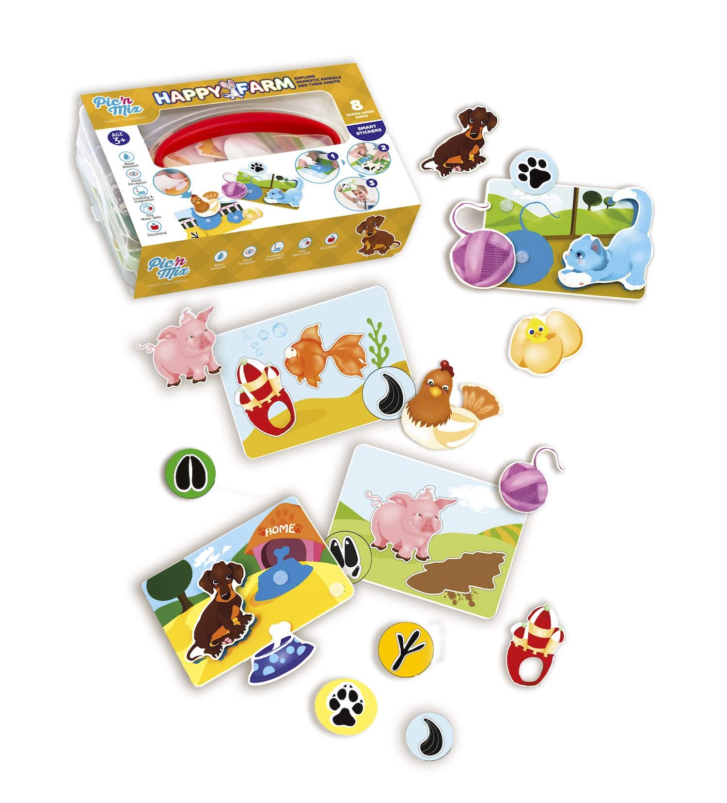 Happy Farm Game for Toddlers and Preschool Kids | Learning Sorting and Counting - Therapy Fine Motor Skills Activity. For 3 years old. Eco-Friendly made of durable plastic | Educational Puzzle Toy.