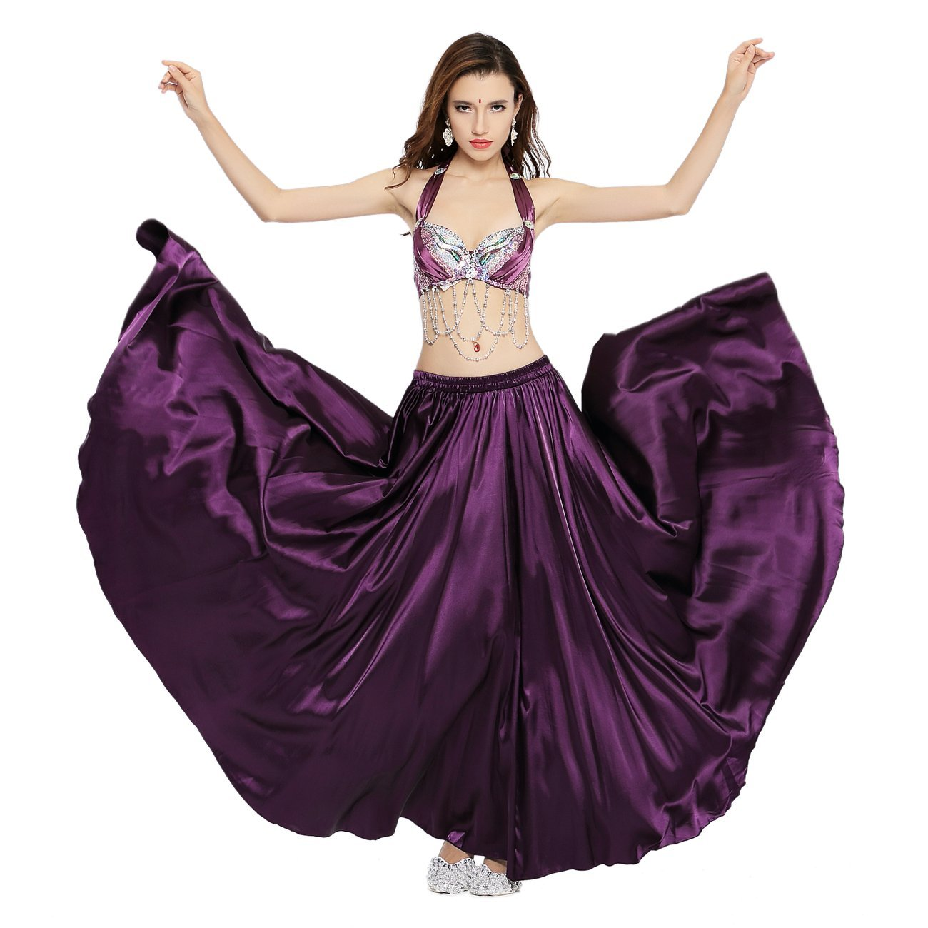 240159e18cc4 Amazon.com: Dance Fairy Belly Dance Satin Long Skirt,Purple: Clothing