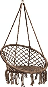 Caromy Hammock Chair Macrame Swing, Hanging Lounge Mesh Chair Durable Cotton Rope Swing for Bedroom, Patio, Garden, Deck, Yard, Max Capacity 265 Lbs (Brown)