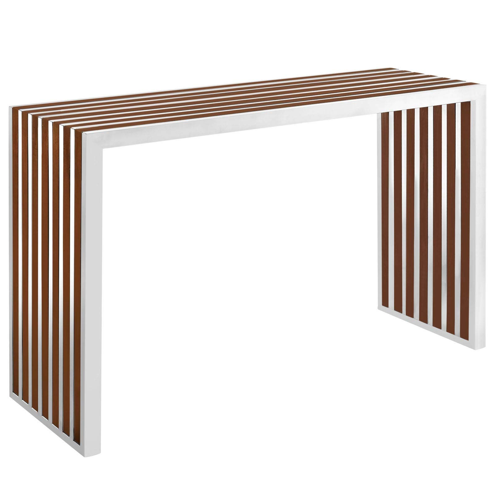 Gridiron Stainless Steel Wood Inlay Console Table Brown Modern Contemporary Round Walnut Finish by Unknown