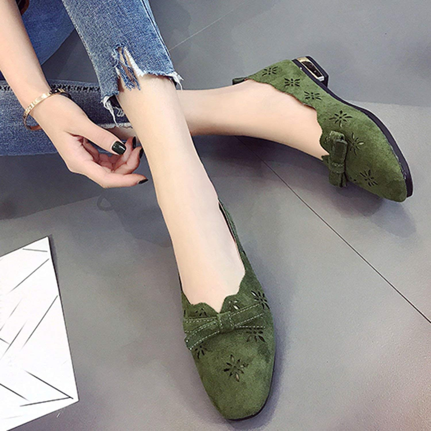 Collocation-Online Women Casual Slip On Shoes Solid Fashion Loafer Female Frosted face Pointed Plain Flat Shoe Single Shoes #30,Green,38,China