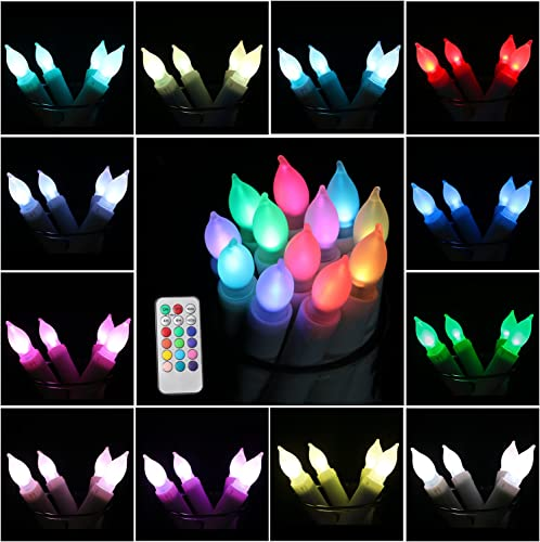 Youngerbaby 12 Pack Color Changing Taper Candle Timer Flameless Candle with Remote Battery Operated Flameless Taper Candles for Wedding Decor,Birthday Party,Home Decoration