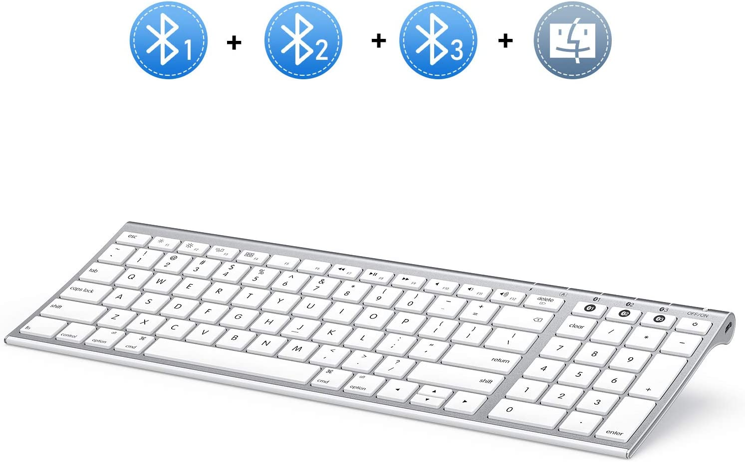 Multi-Device Bluetooth Keyboard for Mac OS, Jelly Comb Rechargeable Slim Wireless Keyboard with Number Pad Compatible for MacBook Pro/Air, iMac, iPhone, iPad Pro/Air/Mini - White and Silver