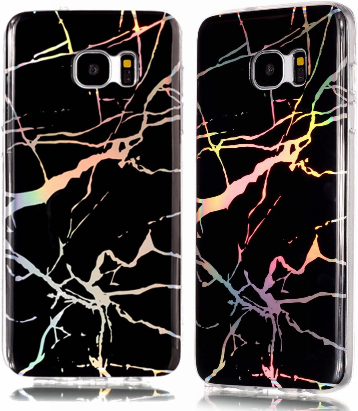 Galaxy S7 Edge Case,DAMONDY 3D Shiny Marble Glitter Ultra Thin Slim Back Skin Full Body Protective Soft TPU Rubber Bumper Case Phone Cover for Samsung Galaxy S7 Edge-Black