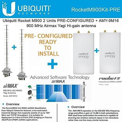 Amazon Ubiquiti RocketM900 2 Pack PRE CONFIGURED AMY 9M16x2