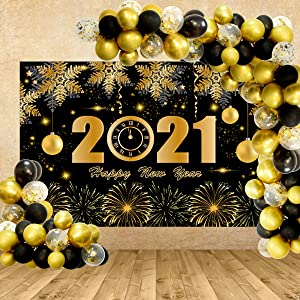 Happy New Year Decorations 2021 Kit,Happy New Year Backdrop and Gold Black Balloons for 2021 New Year Eve Party Supplies Great Decor Celebration