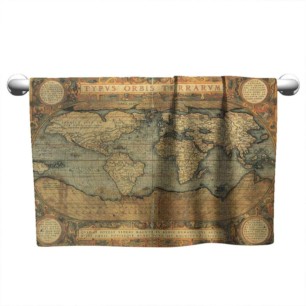 Nostalgic Map Decor Sports Absorbent Towel, Bath Towel Reproduction of 16th Century Map of The World and Color The Famous Dutch Cartographer Abraham Ortelius Towel W10 x L10