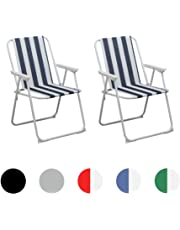 Harbour Housewares Folding Portable Beach/Camping Deck Chair - Blue Stripe - Pack of 2