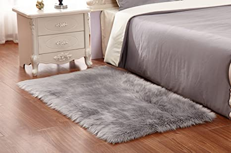 HUAHOO Gray Faux Sheepskin Area Rug Chair Cover Seat Pad Plain Shaggy Area  Rugs For Bedroom