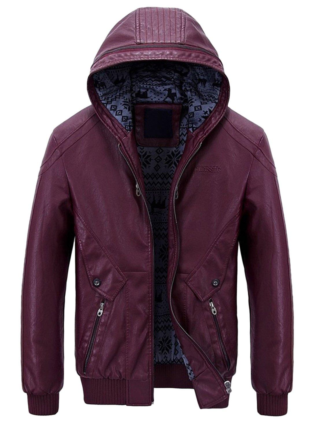 Chouyatou Men's Stylish Hooded Zip-Front Fleece Lined Moto PU Leather Bomber Jackets (X-Large, Wine Red) by Chouyatou